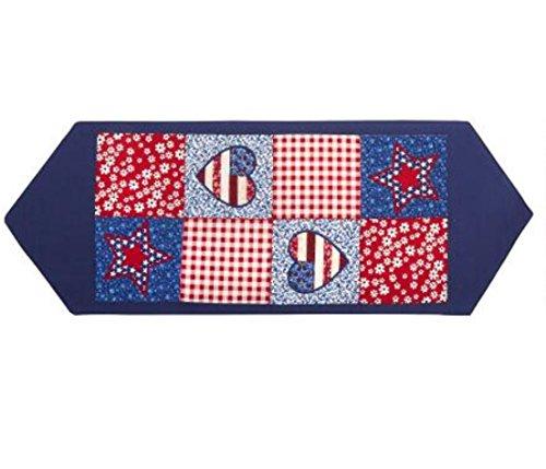 Classic Americana Patriotic Patchwork Appliques Table Runner 36