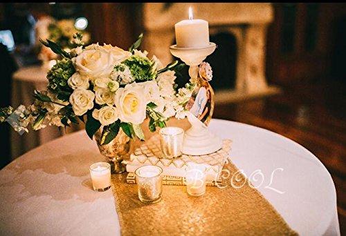 B-COOL High-Density Sequin Table Runner Elegant Sparkly 1272 Gold Sequin Table Runner On Sale