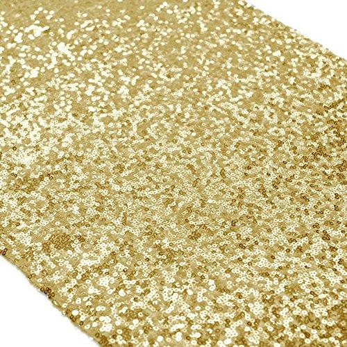 ShinyBeauty 12x72-Inch-Gold-Sequin Table Runner Wholesale Sequin Table Cloth Sequin Tablecloths Sequin Linens Gold
