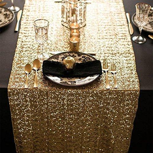 ShinyBeauty Sequin Table Runner 13x84-Inch Gold for Wedding PartyDinnerReceptionGiftEventBridal Shower