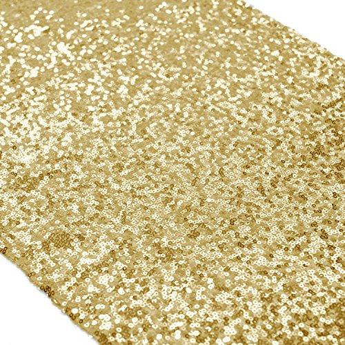 Shinybeauty Gold Sequin Table Runner-12 by 72-InchCustom Handmake Elegant Wedding Event Table Runner