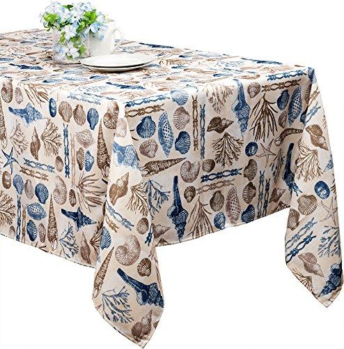 Benson Mills Ocean Treasure Indoor Outdoor Spillproof Easy Care Tablecloth 70 Round