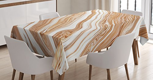 Marble Tablecloth by Ambesonne Wavy Colored Fluid Earthen Toned Unusual Classic Stylized Retro Authentic Print Dining Room Kitchen Rectangular Table Cover 60 W X 90 L Inches Cinnamon Cream