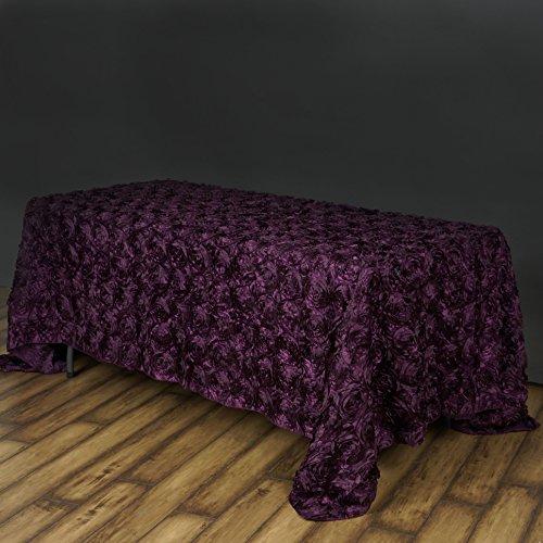 Efavormart Rosette Rose Pattern Rectangle Tablecloth 90x132 - Eggplant Tablecloth
