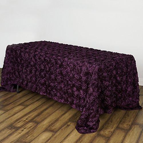 Efavormart Rosette Rose Pattern Rectangle Tablecloth 90x156 - Eggplant Tablecloth