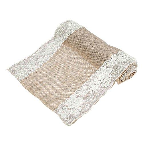 275x30cm Vintage Natural Burlap Jute Linen Table Runner White Lace Cloth