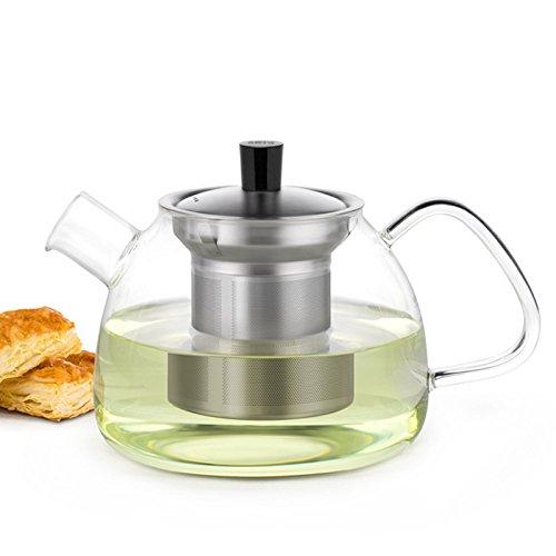 Glass Teapot Loose Leaf Tea Maker With Stainless Steel Infuser Stovetop Safe Tea Kettle Safe Tea Kettle