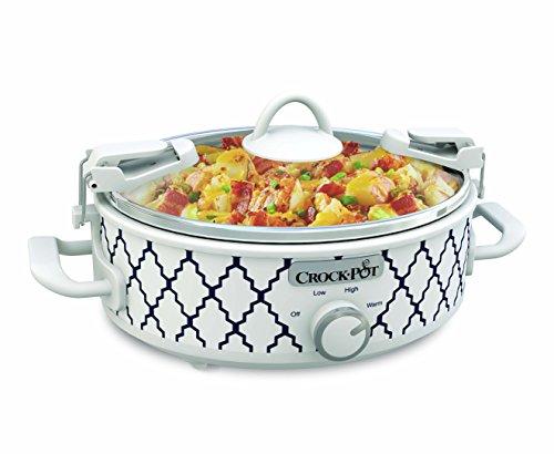 Crockpot 25-Quart Mini Casserole Crock Slow Cooker WhiteBlue