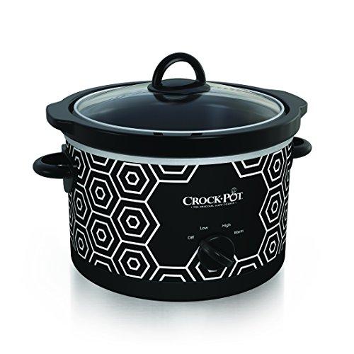 Crockpot Round Slow Cooker 45 quart Black White Pattern SCR450-HX