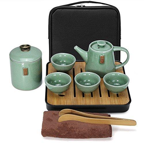 E&A Portable Chinese Kongfu Tea Set Travel Ceramic Porcelain Tea Ware Teapot Canister Teacups Tea Clip Towel Tray A