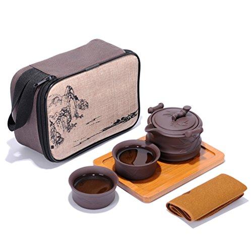 Portable Travel Kungfu Zisha Tea Set Handmade Purple Clay Teapot Teacups Traditonal Chinese Tea Pot Style Purple Clay- Bamboo Style
