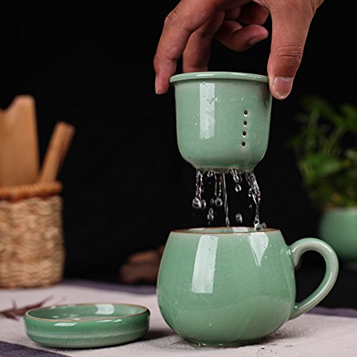 XDOBO Celadon Chinese Style Tea Infuser Cup Porcelain Handmade Kung Fu Tea CupCeramic Tea Cup With Loose Leaf Tea Brewing System - Beautifully Designed Tall Tea Infuser Cup With Saucer Lid