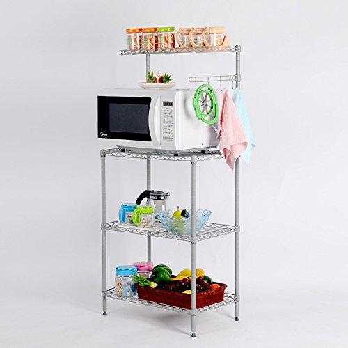 3-Tier Rack Microwave Oven Rack With Shelf 3 Layer Metal Mesh Multifunctional Storage Shelving Rack For Kitchen