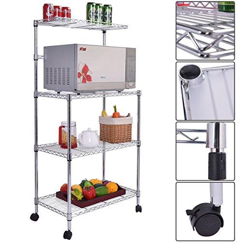 Gracelove 3-Tier Kitchen Bakers Rack Microwave Oven Stand Storage Cart Workstation Shelf