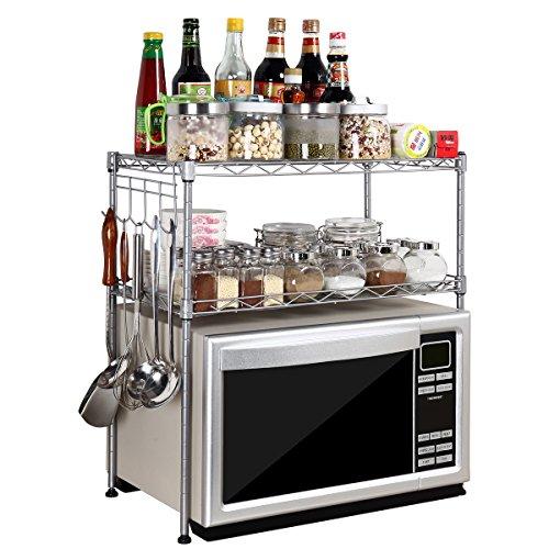 Silver Steel 2-Tier D30cm W55cm H55cm Adjustable Microwave Oven Storage Rack Kitchen Tableware Shelves Counter and Cabinet Shelf with 4 Side Hooks WJG3055-SL