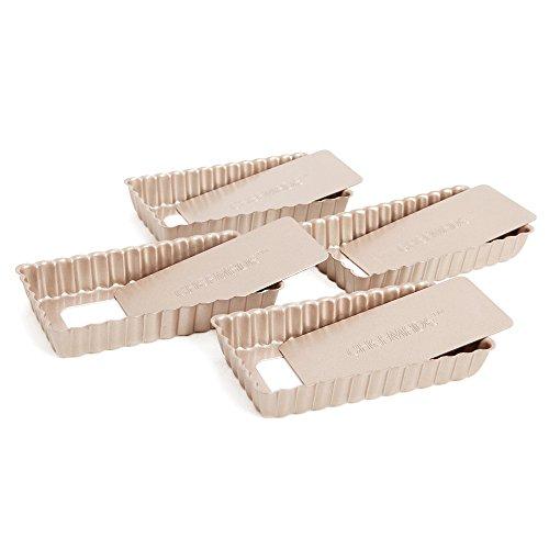 Chefmade Mini Non-Stick RectangleTartQuiche Pan4-InchChampagne4 Pieces