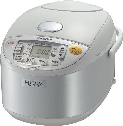 Zojirushi NS-YAC10 Umami Micom Rice Cooker and Warmer Pearl White 55 Cup Capacity
