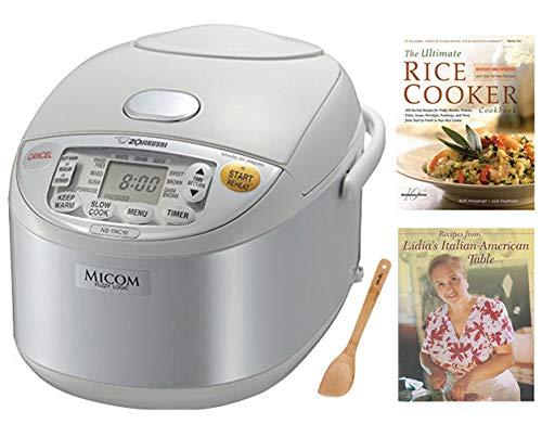 Zojirushi NS-YAC10 Umami Micom Rice Cooker and Warmer Pearl White 55 Cup Capacity Includes Two Cookbooks Spatula Bundle