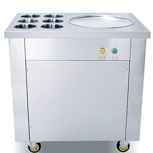 SHIJING Fried Ice Cream Machine Stir Yogurt Machines Single Round Pan with 6 Buckets Fry Ice Maker