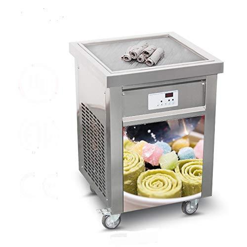 US Street Food Snack Food Equipment 110V Single 52x52cm Square ice pan Thai Fried ice Cream Machine Fry Fast Food Machine roll ice Cream Machine with ETL Certificate