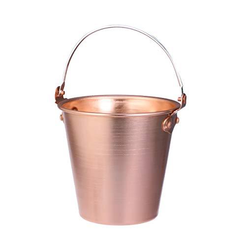 BESTonZON 125 Liter Metal Ice Bucket Wine Bucket Champagne Bucket with Carry Handles Ice Tongs Copper
