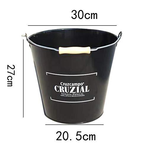 NgFTG Versatility Thicken Ice Bucket Galvanized Metal Ice Buckets High Capacity Wine Champagne Bucket Polish Non-Slip Base Insulated-Black 20x27cm