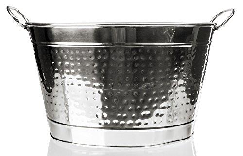 Sleek Stainless Steel Beverage Tub - Hammered Large Ice Bucket Metal Tub - Party Tub Beer Bucket 14 Inch