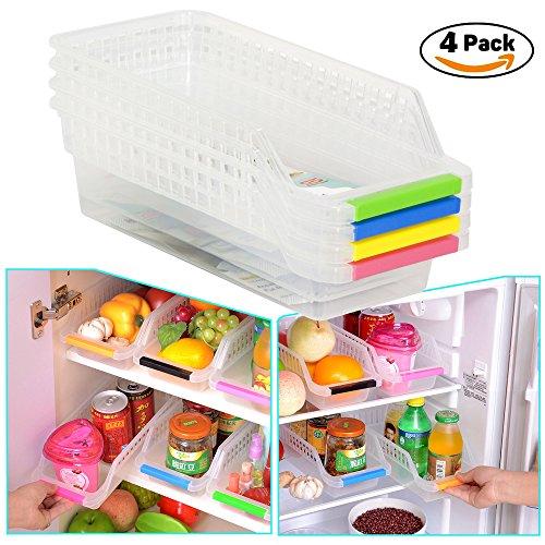 HapiLive Refrigerator Durable Storage Organizer Fruit Handled Kitchen Collecting Box Basket Rack Stand Basket Container 4 Pcs