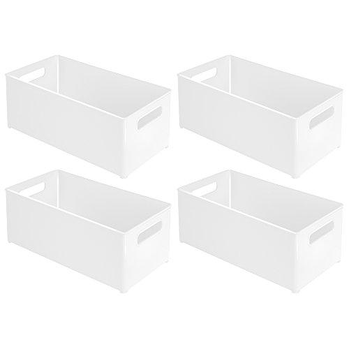 InterDesign Refrigerator and Freezer Storage Organizer Bins for Kitchen 8 x 6 x 145 Set of 4 White
