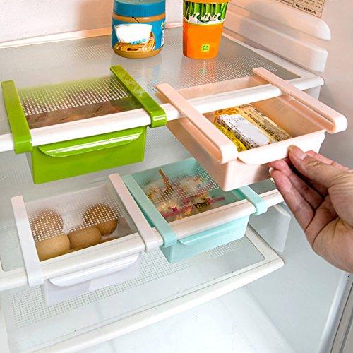 Refrigerator storage organizer Sliding Fridge Storage Box Drawer Holder for kitchen(Pink)