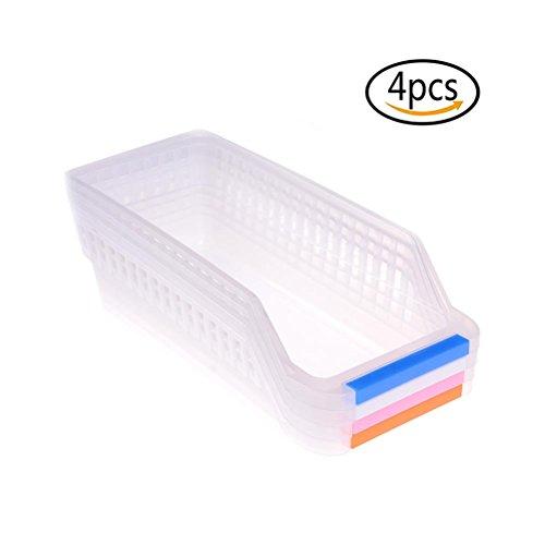 TUANTUAN 4 Pcs Refrigerator Storage Organizer Bins Kitchen Collecting Box Basket Storage Rack Fridge Drawer Container with HandlesRandom Color