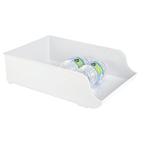 mDesign Kitchen Pantry Refrigerator Storage Organizer Bin for Water Bottles - White