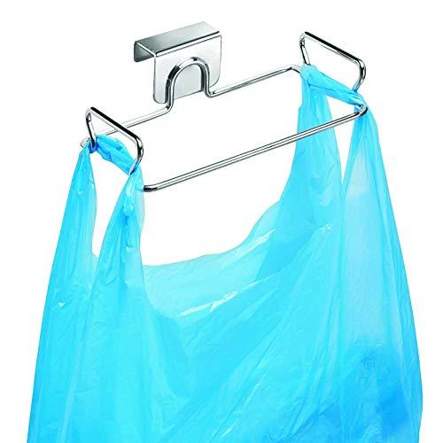 Hanging Garbage Bags Storage Rack Stainless Steel Trash Bag Holder Towel Gloves Hanger for Kitchen Cabinet Cupboard Drawer Back