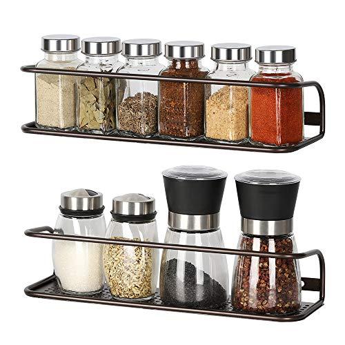 NEX 2 Pack Wall Mounted Spice Rack Storage Organizer Shelf for Kitchen Cabinet Cupboard Pantry Door Brown
