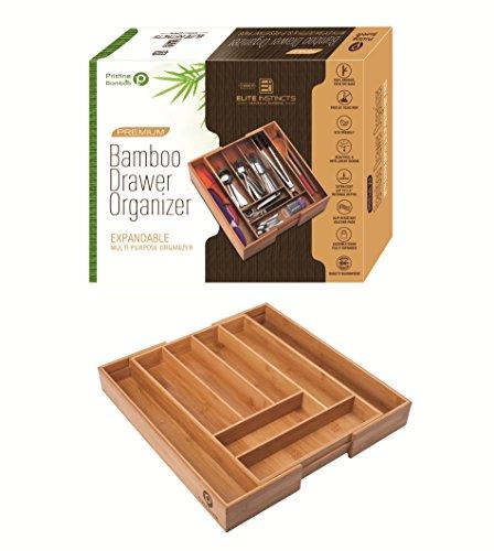✔ Premium Extra Deep Non-slip Large Silverware Organizer Expandable Bamboo Utensil Drawer Organizer Wooden Flatware Holder Cutlery Tray Adjustable Kitchen Drawer Divider by PRISTINE BAMBOO