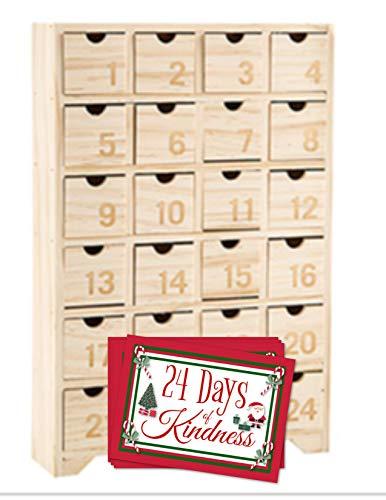 HH Merch Advent Calendar 2019 Fillable Wooden Kids Advent Calendar with Drawers Advent Calendar DIY with Kindness Matters Cards Deck Set of 24