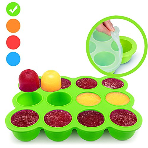 Silicone Freezer Tray for Baby Food Storage - Reusable Baby Food Storage Containers - Vegetable Fruit Purees and Breast Milk - BPA FREE FDA Approved