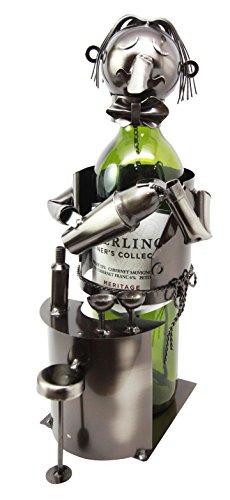 Coktail Expert Bartender Hand Made Metal Wine Bottle Holder Caddy Figurine