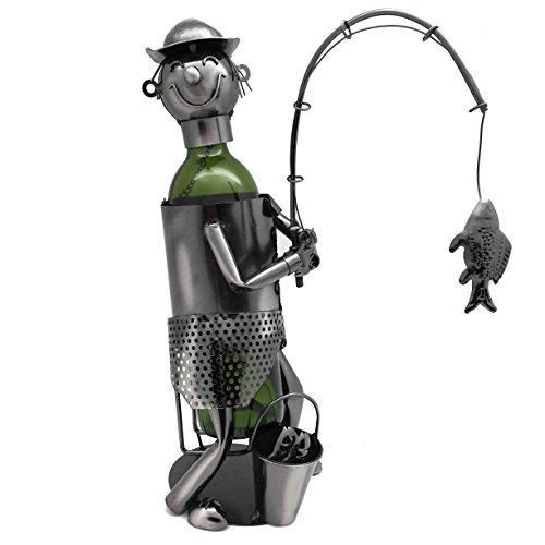 WINE BODIES ZB2030 Fisherman Metal Wine Bottle Holder Charcoal