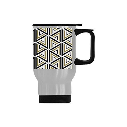 Geometric Decor Simple Travel MugModern Stylish Triangle and Diamond Repeating Line Tiling Figures Image for Home14OZ