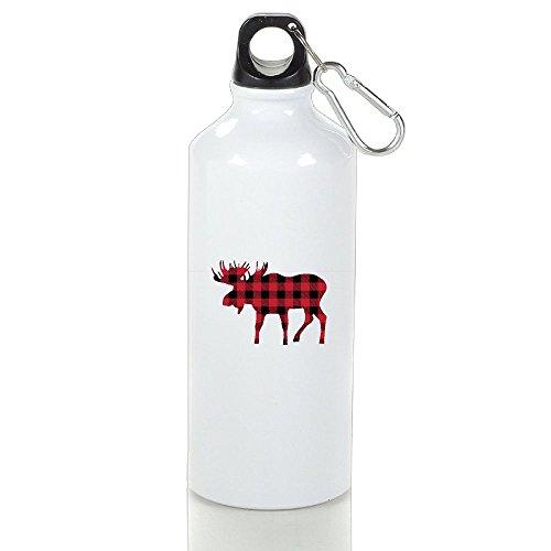 Buffalo Plaid Moose Aluminum Sports Water Bottle Travel Mug Coffee Mug