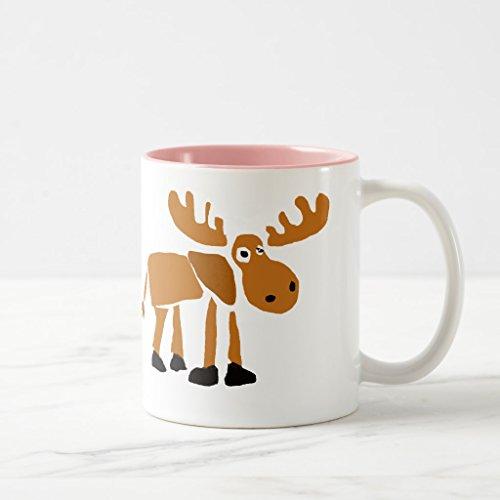 Zazzle Xx- Primitive Art Moose Travel Mug Pink Two-Tone Mug 11 oz