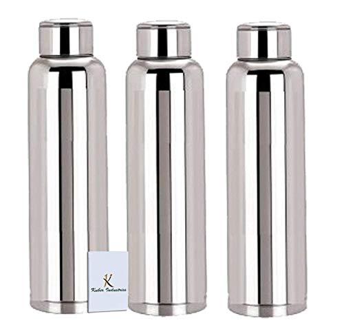 Kuber IndustriesTM Stainless Steel 3 Pcs Fridge Water BottleRefrigerator BottleThunder -CTKTC6013