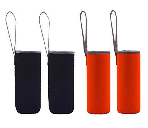 500Ml Neoprene Water Bottle Sleeve Water Bottle Holder Neoprene Carrier Cooler Sleeve bagCoverHolderHuggie- 4 Pack Black&Orange
