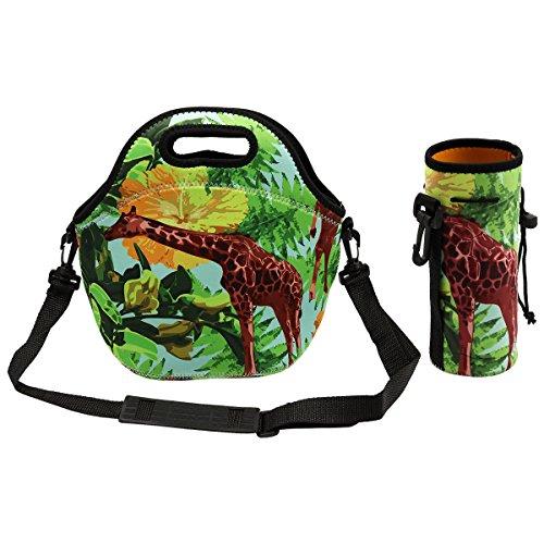 KPAO Waterproof Neoprene Giraffe Lunch Bag Outdoor Travel Picnic Lunch Box with Water Bottle Bag