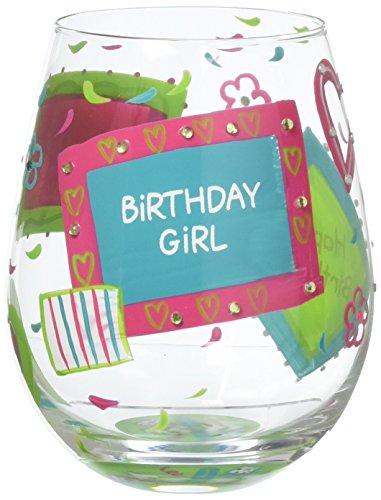 Designs by Lolita Birthday Girl Hand-painted Artisan Stemless Wine Glass 20 oz