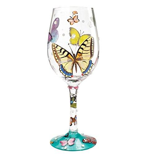 Designs by Lolita Butterflies Hand-painted Artisan Wine Glass 15 oz