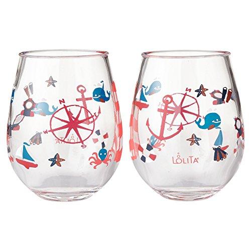 Enesco Designs by Lolita Maritime Acrylic Stemless Wine Glasses Set of 2 17 oz