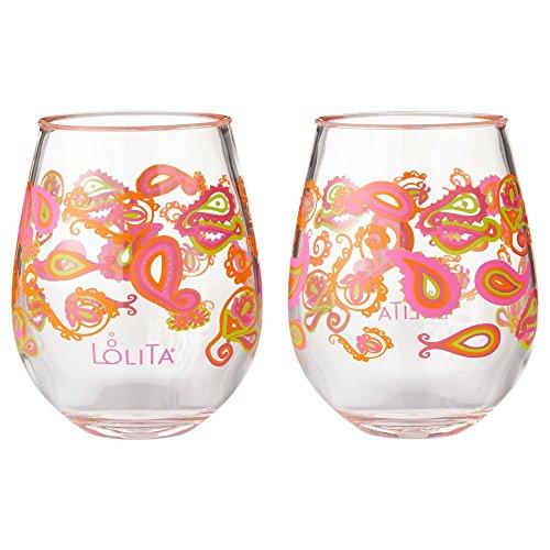 Enesco Designs by Lolita Paisley Acrylic Stemless Wine Glasses Set of 2 17 oz