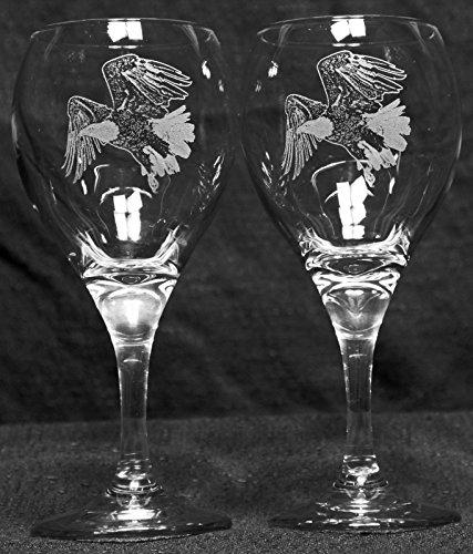 American Bald Eagle Bird Raptor Laser Etched Wine Glass Set 2 TDW